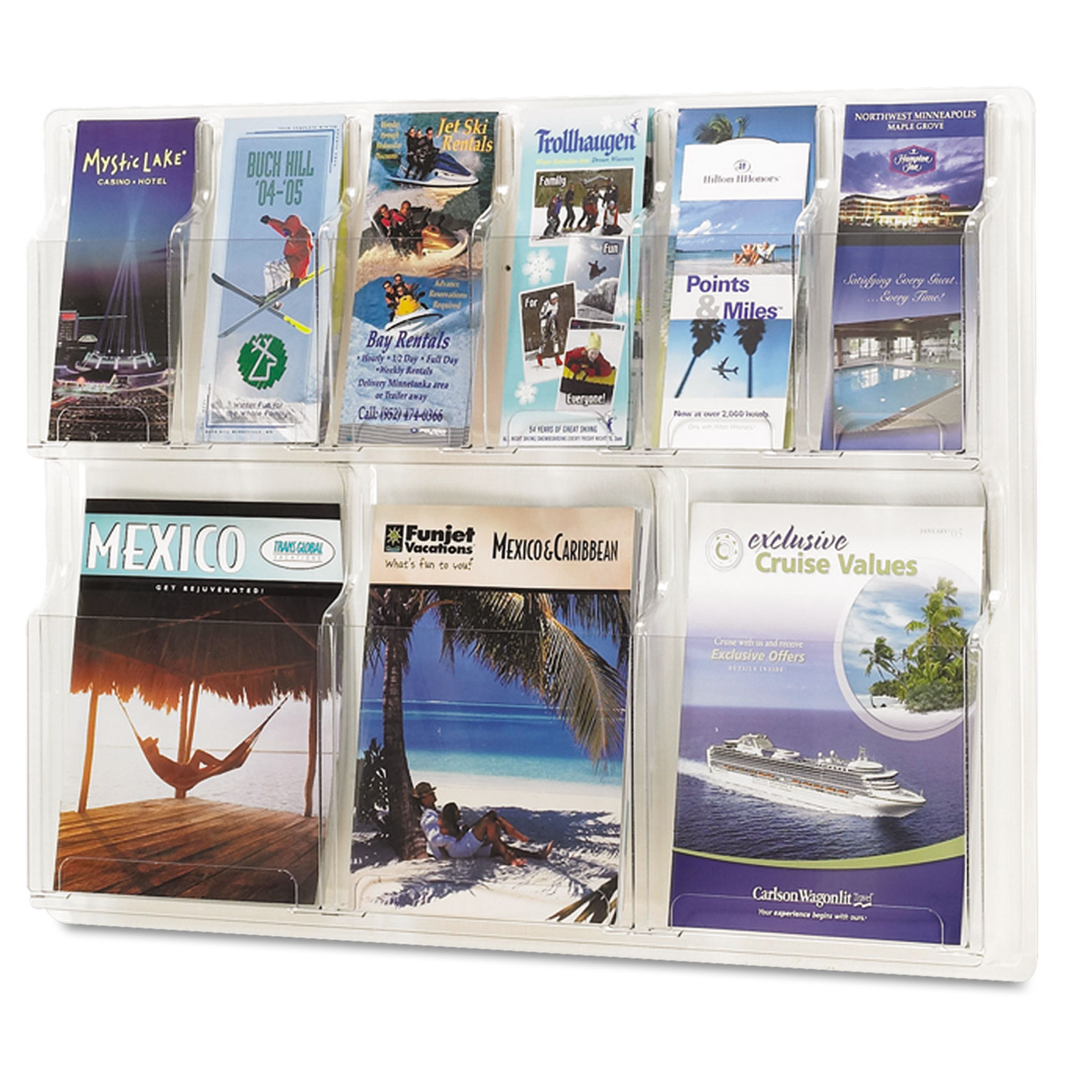 Reveal Clear Literature Displays, 9 Compartments, 30w x 2d x 22.5h, Clear