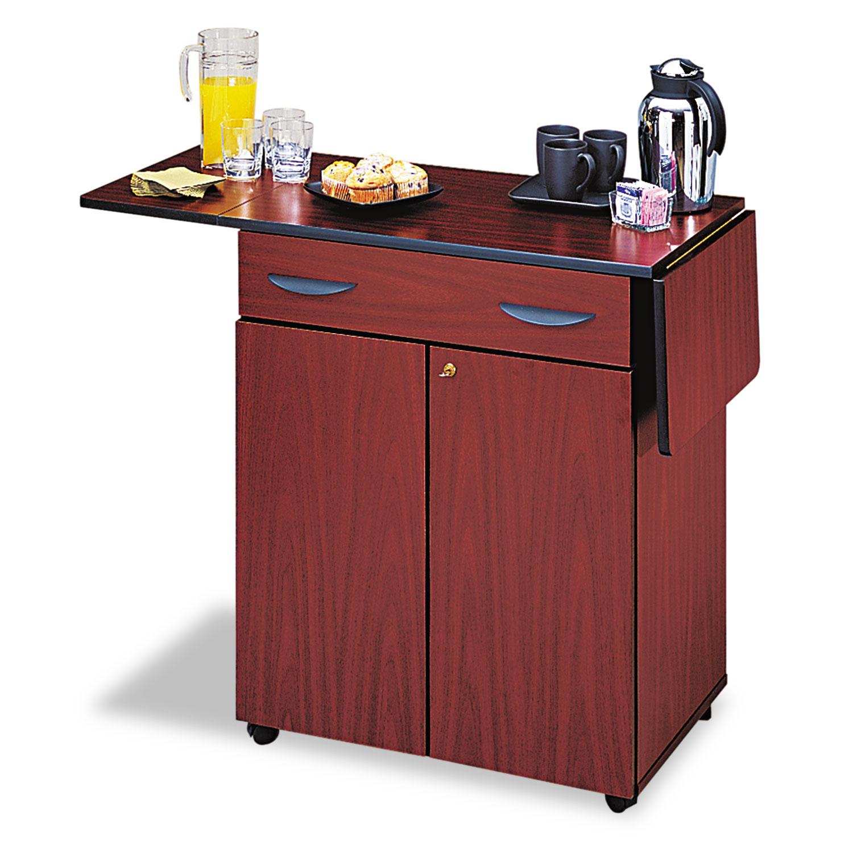 Hospitality Service Cart, One-Shelf, 32.5w x 20.5d x 38.75h, Mahogany