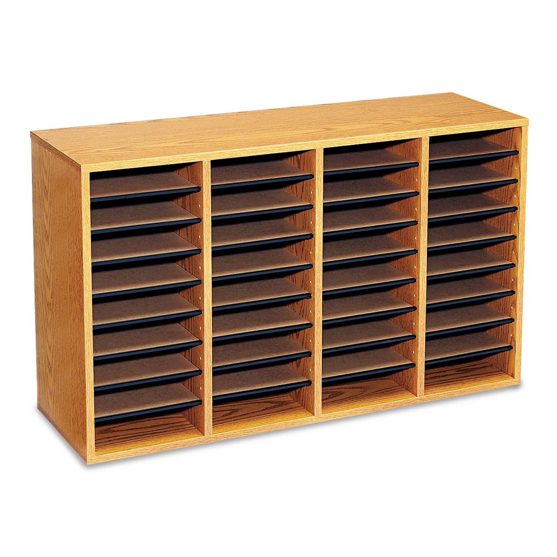 Wood/Laminate Literature Sorter, 36 Sections, 39 1/4 x 11 3/4 x 24, Medium Oak