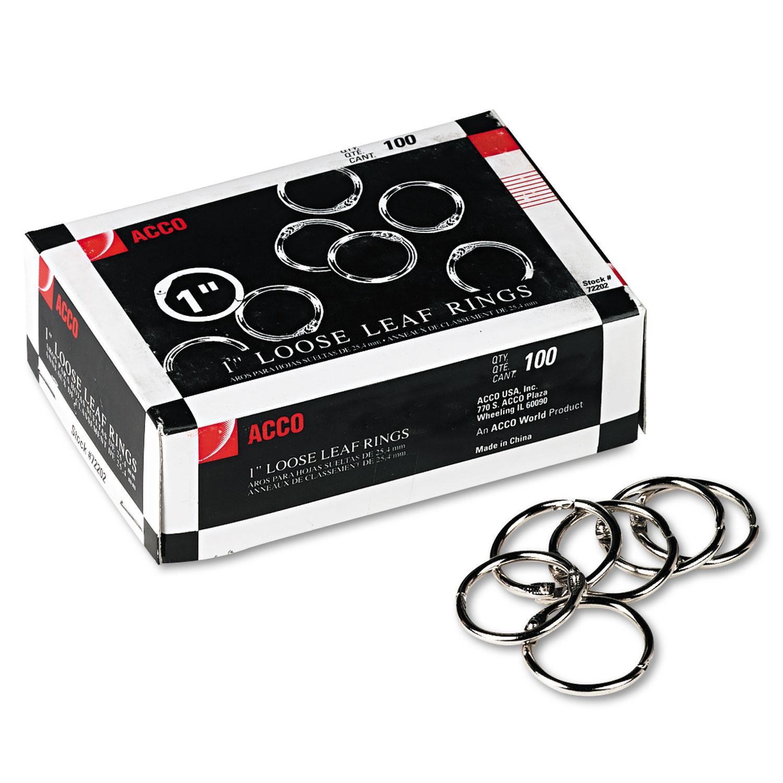 """Metal Book Rings, 1"""" Diameter, 100 Rings/Box"""