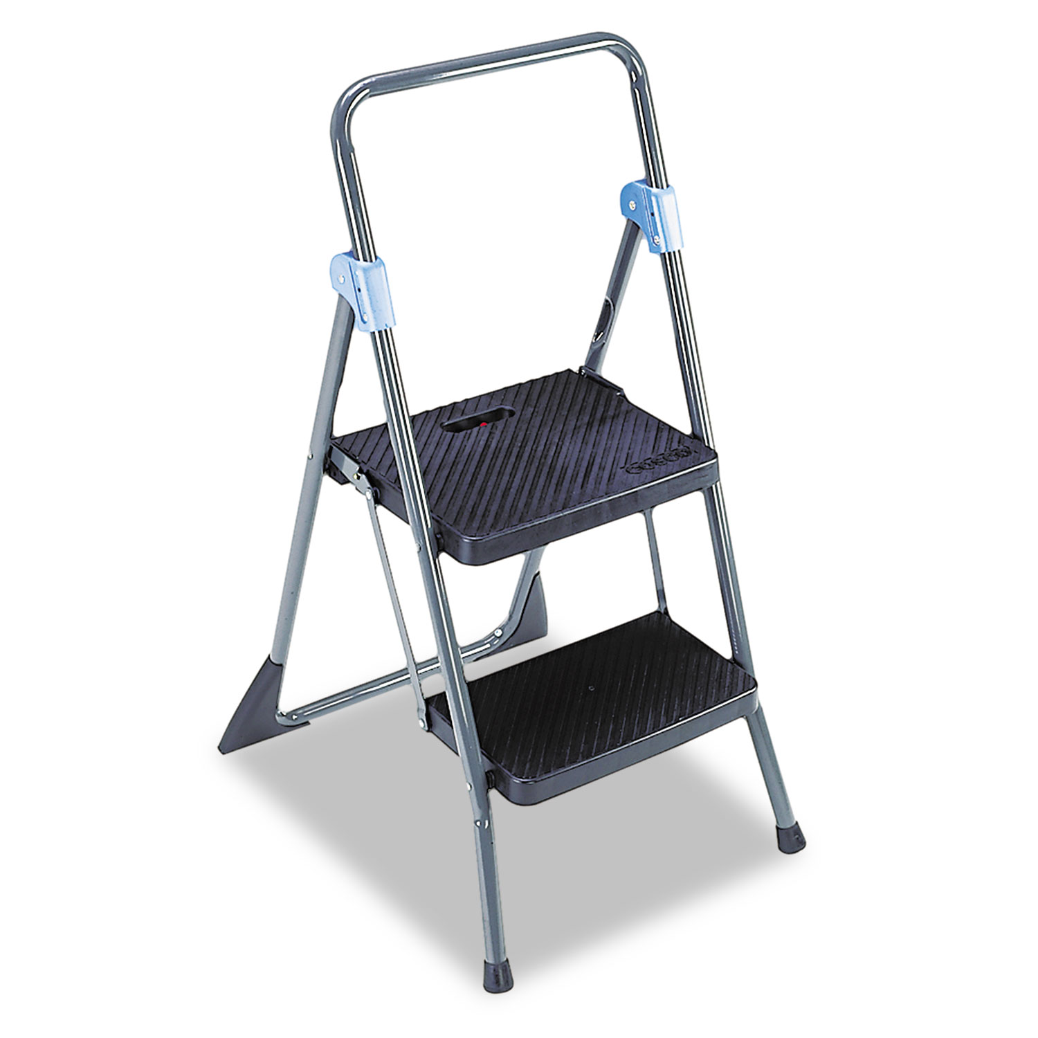 Commercial 2 Step Folding Stool By Cosco 174 Csc11829ggb