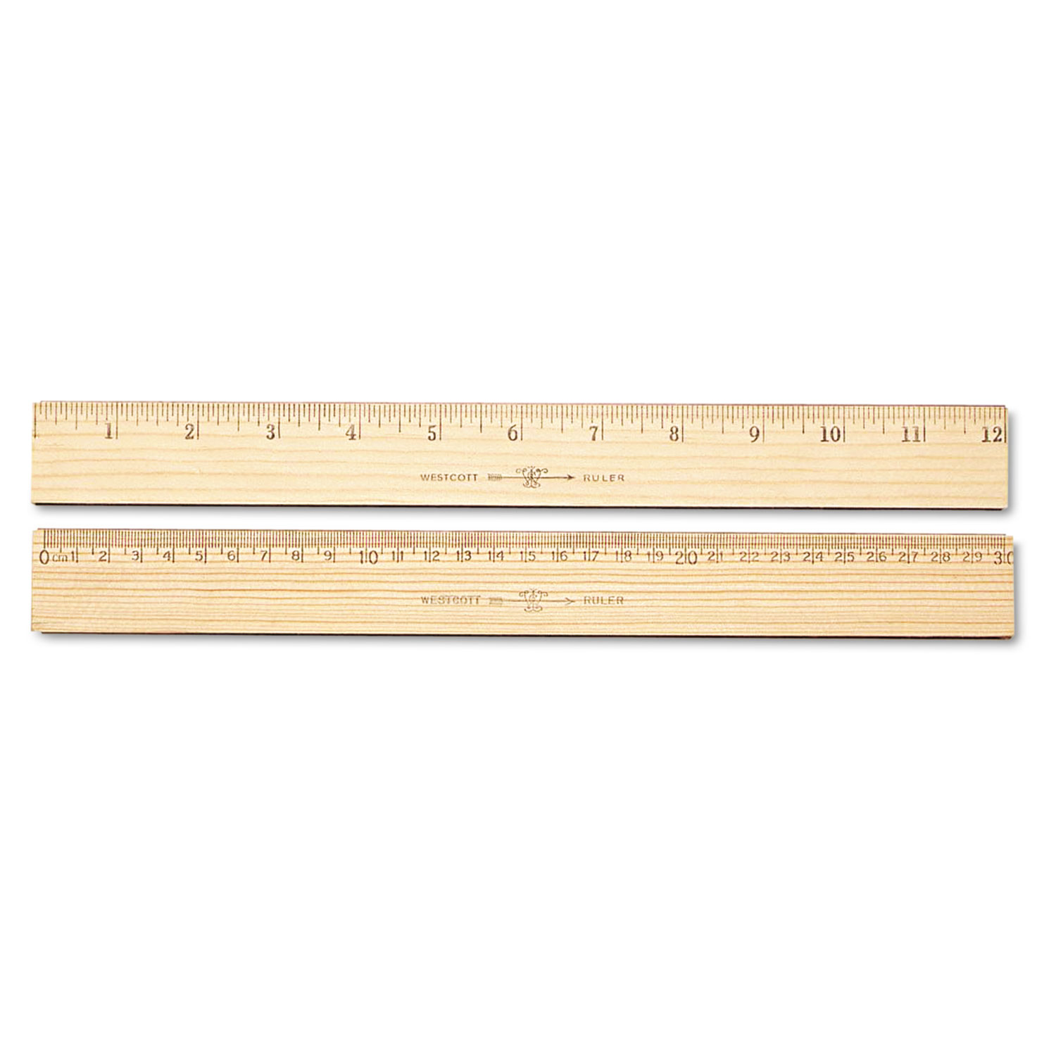 "Wood Ruler, Metric and 1/16"" Scale with Single Metal Edge, 30 cm"