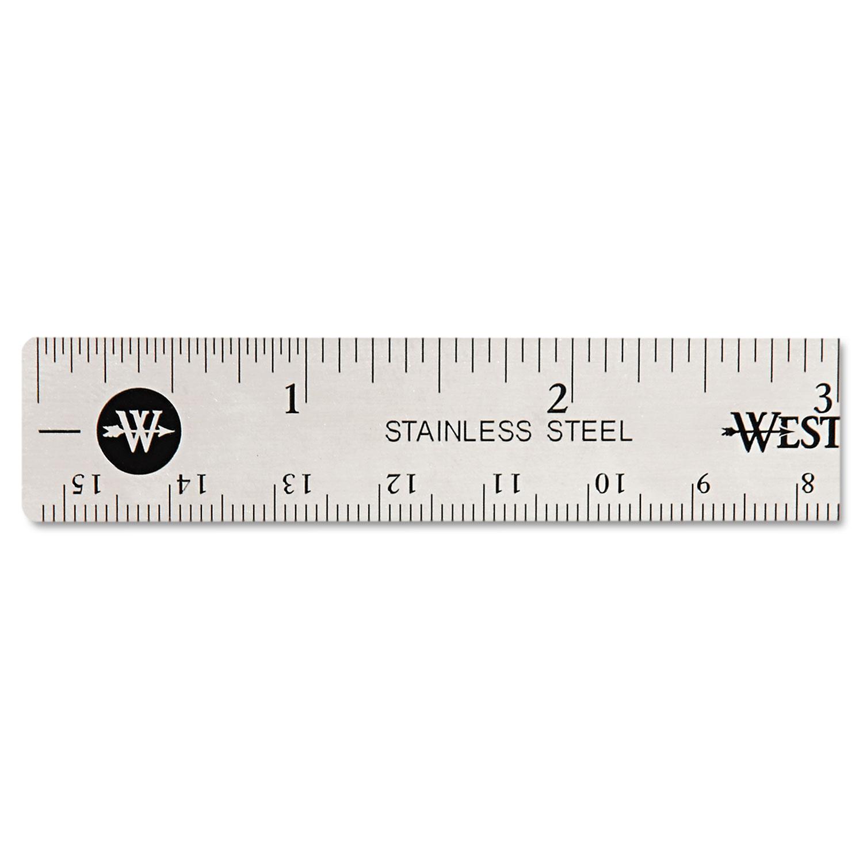"Stainless Steel Office Ruler With Non Slip Cork Base, 6"""