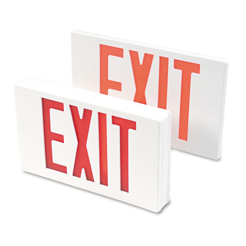 "LED Exit Sign, Polycarbonate, 12 1/4"" x 2 1/2"" x 8 3/4"", White"