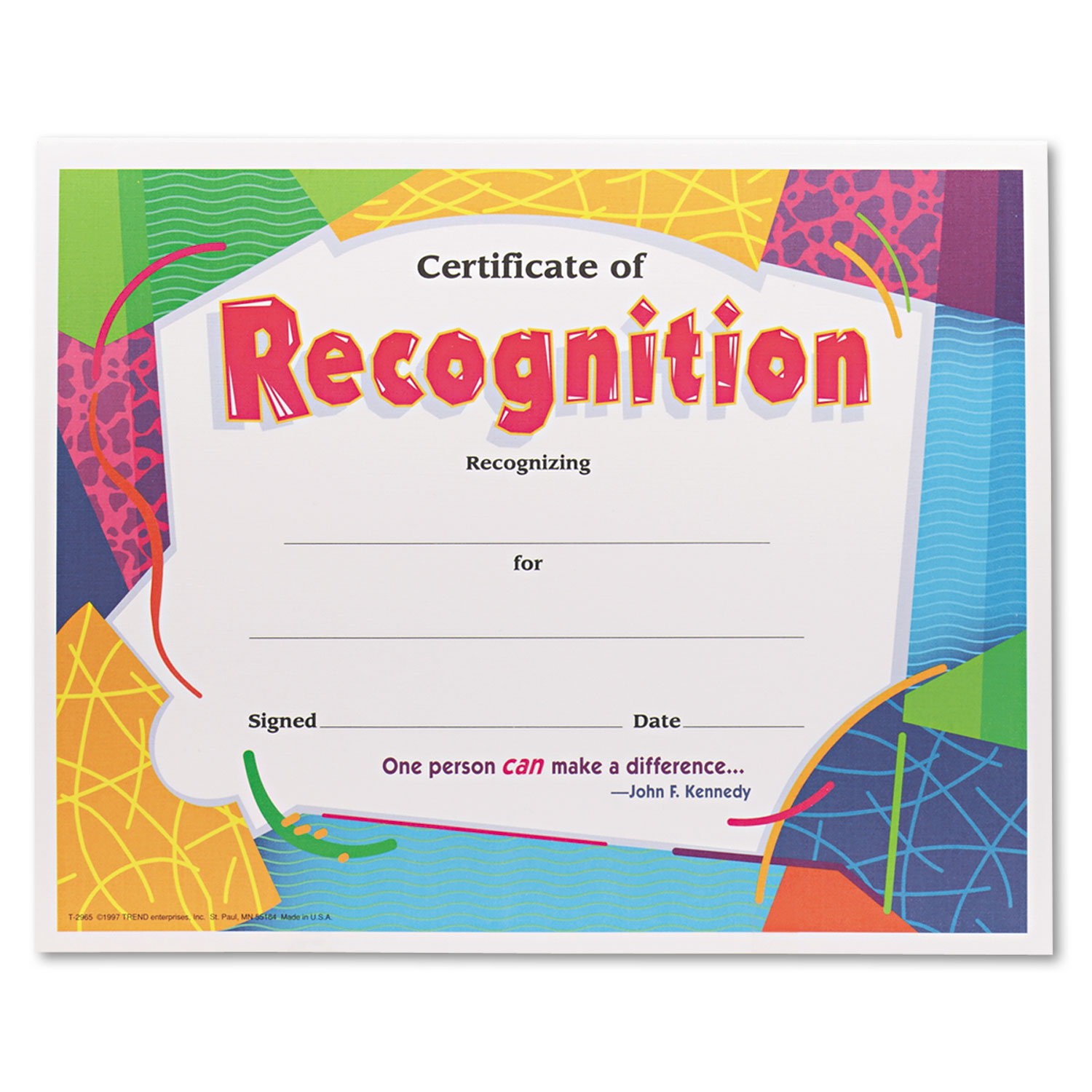 Certificate Of Recognition Awards By Trend Tept2965