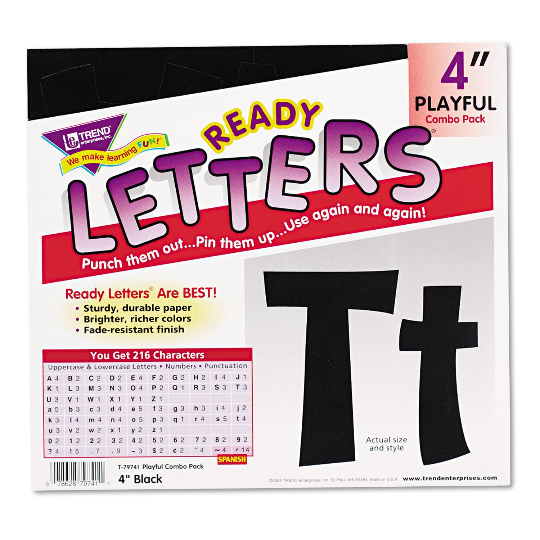 "Ready Letters Playful Combo Set, Black, 4""h, 216/Set"