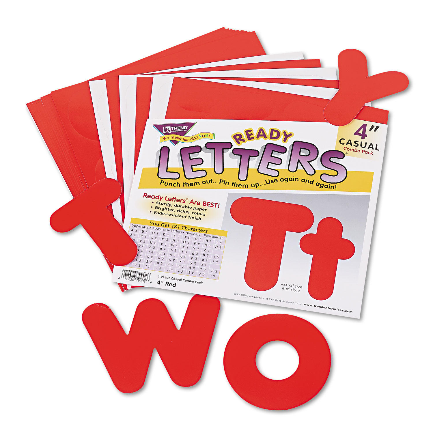 """Ready Letters Casual Combo Set, Red, 4""""h, 182/Set"""
