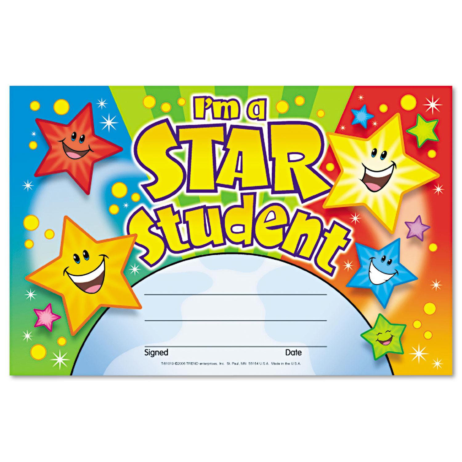 Recognition Awards, I'm a Star Student, 8.5w by 5.5h, 30/Pack