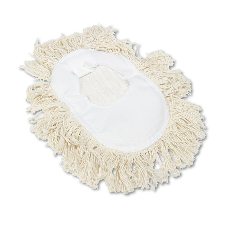 Wedge Dust Mop Head, Cotton, 17 1/2l x 13 1/2w, White