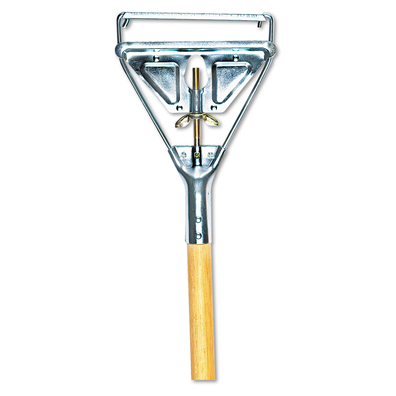 Quick Change Metal Head Mop Handle for No. 20 & Up Heads, 54in Wood Handle