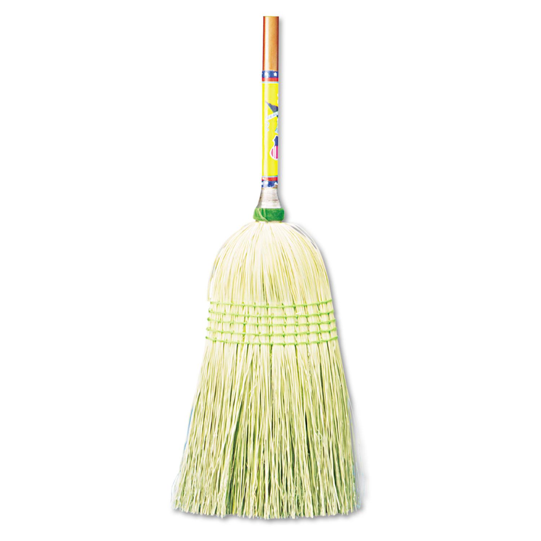 "Parlor Broom, Corn Fiber Bristles, 55"" Wood Handle, Natural, 12/Carton"