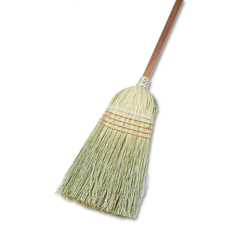 "Warehouse Broom, Yucca Corn Fiber Bristles, 56"" Overalll Length, Natural, 12/Ct"