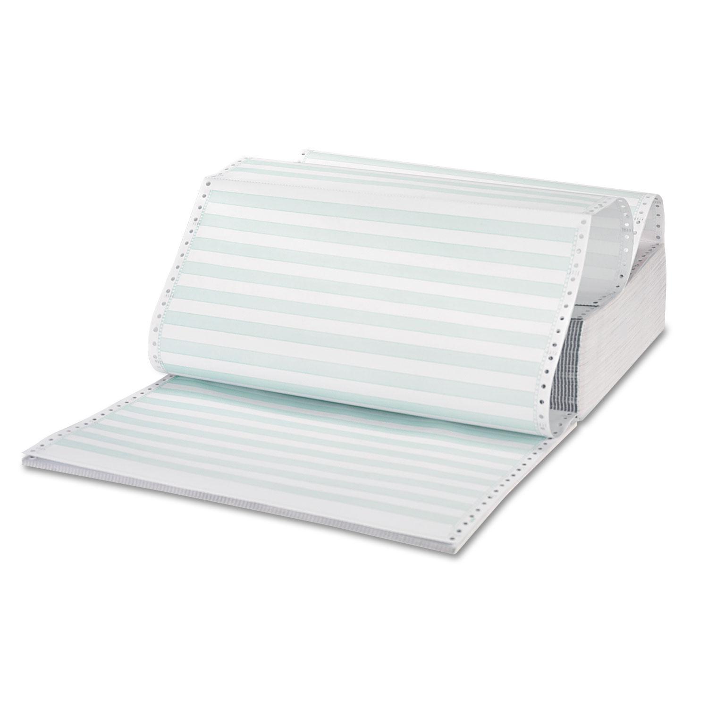 Printout Paper, 3-Part, 15lb, 14.88 x 11, White/Green Bar, 1, 100/Carton