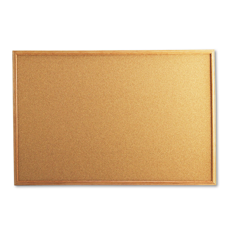Cork Board with Oak Style Frame, 36 x 24, Natural, Oak-Finished Frame