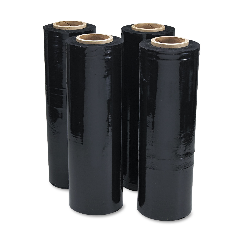 Black Stretch Film, 18″ X 1, 500ft Roll, 20mic (80-Gauge), 4/Carton