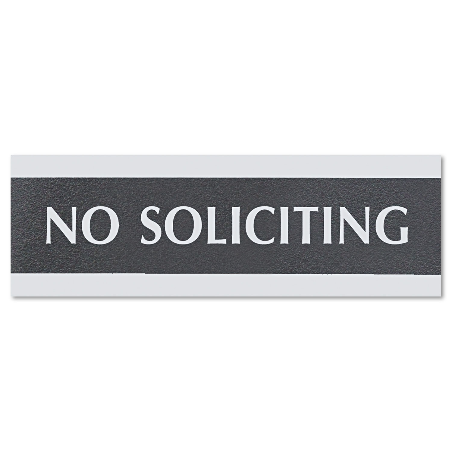 Century Series Office Sign, NO SOLICITING, 9 x 3, Black/Silver