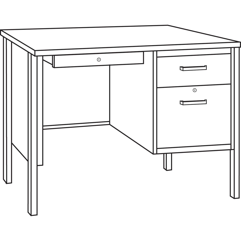 Single Pedestal Steel Desk By Alera 174 Alesd4524pc