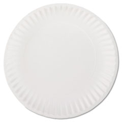 "AJM Packaging Corporation White Paper Plates, 9"" Diameter, 100/Pack, 10 Packs/Carton"