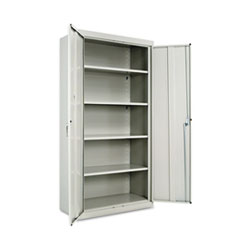 """Assembled 72"""" High Heavy-Duty Welded Storage Cabinet, Four Adjustable Shelves, 36w x 18d, Light Gray"""