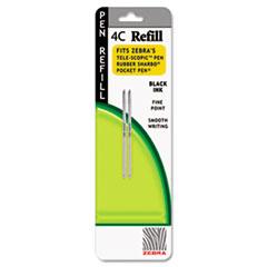 Zebra® Refill for StylusPen Twist and 4C Pocket Pens, Fine, Black Ink, 2/Pack