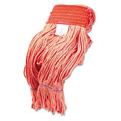 "Boardwalk® Super Loop Wet Mop Head, Cotton/Synthetic Fiber, 5"" Headband, Large Size, Orange, 12/Carton"