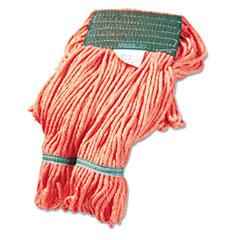 "Boardwalk® Super Loop Wet Mop Head, Cotton/Synthetic Fiber, 5"" Headband, Medium Size, Orange, 12/Carton"