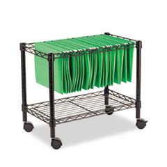 Single-Tier Rolling File Cart, 24w x 14d x 21h, Black