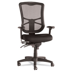 Alera Elusion Series Mesh High-Back Multifunction Chair, Supports up to 275 lbs, Black Seat/Black Back, Black Base