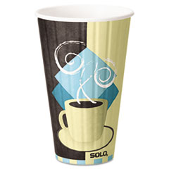 SOLO® Cup Company Duo Shield Insulated  Paper Hot Cups, 16 oz, Tuscan Chocolate/Blue/Beige, 525/Ct SCCIC16J7534CT