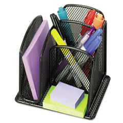 Onyx Mini Organizer with Three Compartments, Black, 6 x 5 1/4 x 5 1/4