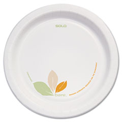 "Dart® Bare Paper Eco-Forward Dinnerware, 8 1/2"" Plate, Green/Tan, 250/Carton"