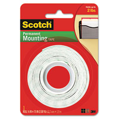"Foam Mounting Double-Sided Tape, 1/2"" Wide x 75"" Long"