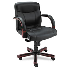 Alera® Alera Madaris Series Mid-Back Knee Tilt Leather Chair with Wood Trim, Supports up to 275 lbs, Black Seat/Back, Mahogany Base