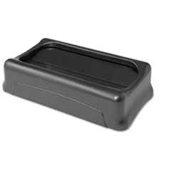 Swing Top Lid for Slim Jim Waste Containers, 11.38w x 20.5d x 5h, Plastic, Black