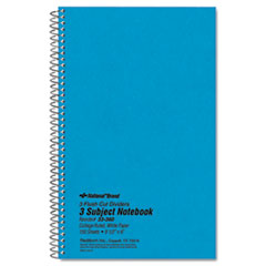 National® Three-Subject Wirebound Notebooks, 3 Subjects, Medium/College Rule, Blue Cover, 9.5 x 6, 150 Sheets