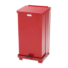Rubbermaid® Commercial Defenders Biohazard Step Can, Square, Steel, 6.5 gal, Red