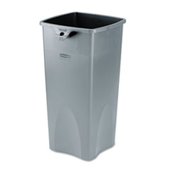 Rubbermaid® Commercial Untouchable Square Waste Receptacle, Plastic, 23 gal, Gray