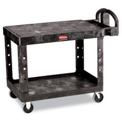 Rubbermaid® Commercial Flat Shelf Utility Cart, Two-Shelf, 25.25w x 44d x 38.13h, Black