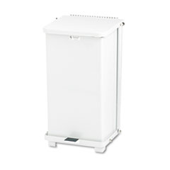 Rubbermaid® Commercial Defenders Biohazard Step Can, Square, Steel, 6.5 gal, White
