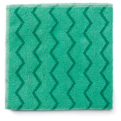 Rubbermaid® Commercial Reusable Cleaning Cloths, Microfiber, 16 x 16, Green, 12/Carton