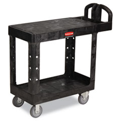 Rubbermaid® Commercial Flat Shelf Utility Cart, Two-Shelf, 19.19w x 37.88d x 33.33h, Black