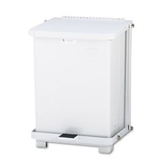 Rubbermaid® Commercial Defenders Biohazard Step Can, Square, Steel, 4 gal, White