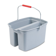 Rubbermaid® Commercial 19 Quart Double Utility Pail, 18 x 14 1/2 x 10, Gray Plastic