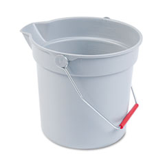 Rubbermaid® Commercial 10 Quart Plastic Utility Pail, 10 1/2 Diameter x 10 1/4h, Gray Plastic