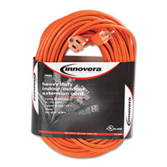 Innovera® Indoor/Outdoor Extension Cord, 100ft, Orange