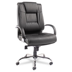Alera® Alera Ravino Big and Tall Series High-Back Swivel/Tilt Leather Chair, Supports up to 450 lbs, Black Seat/Back, Chrome Base