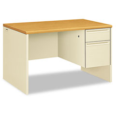 HON® 38000 Series Right Pedestal Desk, 48w x 30d x 29-1/2h, Harvest/Putty