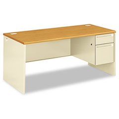 HON® 38000 Series Right Pedestal Desk, 66w x 30d x 29-1/2h, Harvest/Putty