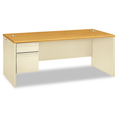 HON® 38000 Series Left Pedestal Desk, 72w x 36d x 29-1/2h, Harvest/Putty