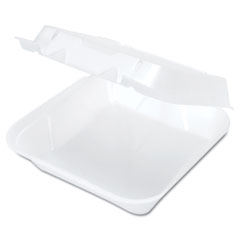 Genpak® Snap-It Vented Foam Hinged Container, 8 x 8.25 x 3, White, 100/Bag, 2 Bags/Carton